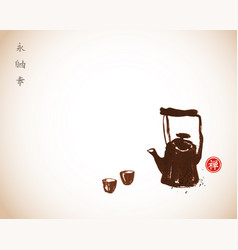 traditional asian tea ceremony teapot and cups vector image