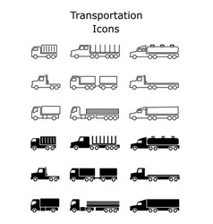 transportation icons set delivery trailers cargo vector image