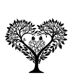 Tree in the form of a heart vector