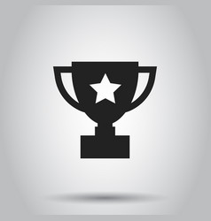 Trophy cup flat icon simple winner symbol black vector