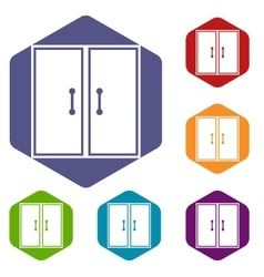 Two glass doors icons set vector image