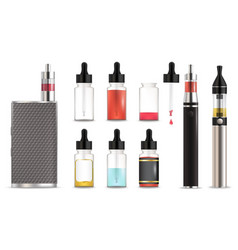 vape and e-liquid bottle icon set isolated vector image