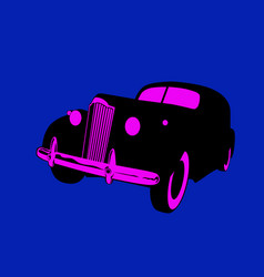 vintage luxury car in lights night city vector image