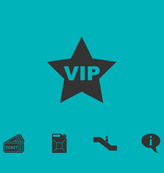 Vip star icon flat vector
