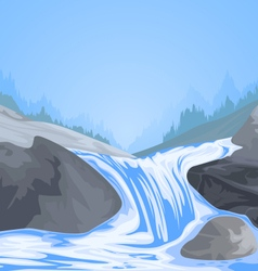 Waterfall scene vector