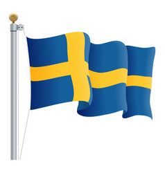 waving sweden flag isolated on a white background vector image