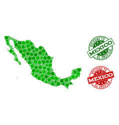 Welcome composition of map of mexico and textured vector