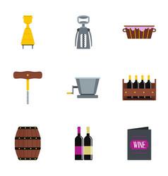 wine icon set flat style vector image