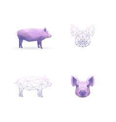 year pig polygonal style vector image