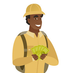 Young african-american traveler holding money vector