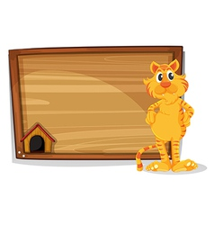 A board with a tiger standing vector image vector image