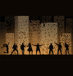 band show on night city background at gold style vector image vector image