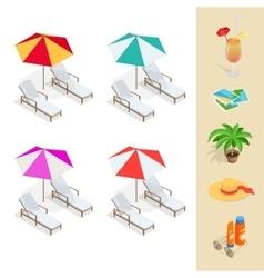 Beach icon set Orange juice sun umbrella palm vector image