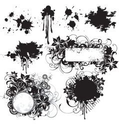 floral grunge frame elements vector image