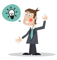 Man in Suit with Bulb in Bubble Icon - Isola vector image vector image