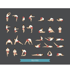 Set of yoga poses vector image vector image