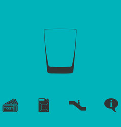 Whiskey glass icon flat vector