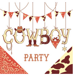 cowboy party text background isolated on white vector image vector image