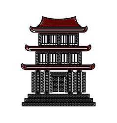 drawing house japanese traditional chinese facade vector image vector image