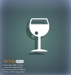 glass of wine icon symbol on the blue-green vector image
