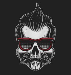 hipster skull vector image