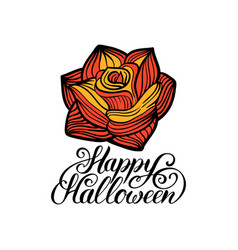 rose with happy halloween vector image