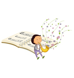 A boy with a trumpet and a music book at the back vector image vector image