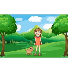 A young girl and her puppy at the hill vector image vector image