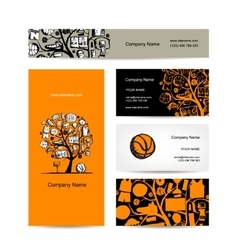 Business cards design basketball tree concept vector image