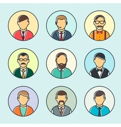 Colorful Male Faces Set Line Style vector image vector image
