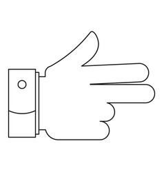 gun gesture icon outline style vector image vector image