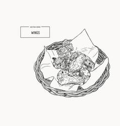 hand drawn sketch buffalo chicken wings in basket vector image vector image