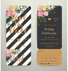 modern wedding invitation black and white stripes vector image
