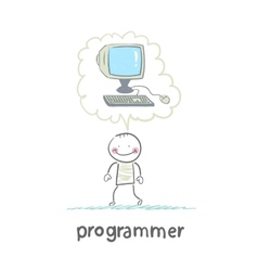 programmer thinks about the computer vector image