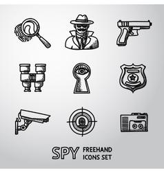 Set of Spy handdrawn icons - fingerprint spy gun vector image vector image