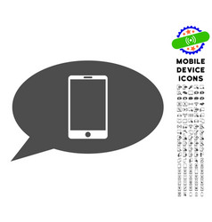 smartphone message icon with set vector image vector image