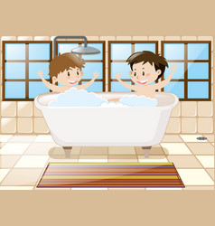 Two boys taking bath together in tub vector