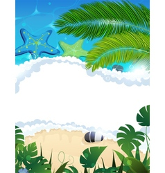 Beach with starfishes and palm branches vector image vector image