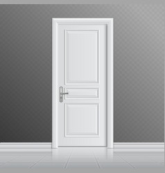 Closed white entrance door vector image
