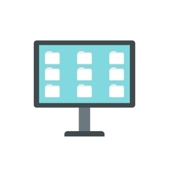 Desktop of computer with folders icon flat style vector image vector image