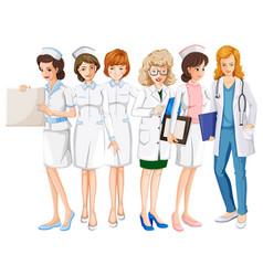 female doctors and nurses in uniform vector image