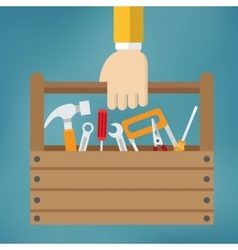 Hand with toolbox vector image vector image