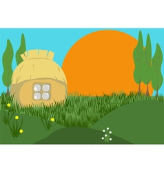 Morning in the village vector image vector image