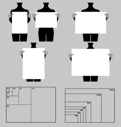 people holding blank poster templates set vector image vector image