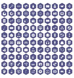 100 media icons hexagon purple vector