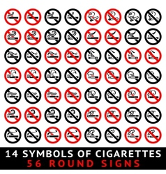 13 symbols of cigarettes 52 round signs vector image