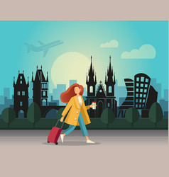 a girl with a suitcase and walking on the vector image