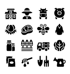 Agriculture farm icon set vector