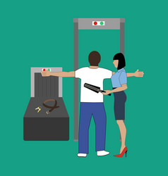 airport security control vector image