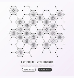 Artificial intelligence concept in honeycombs vector